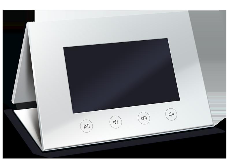 Videobroschüre aufgestellt